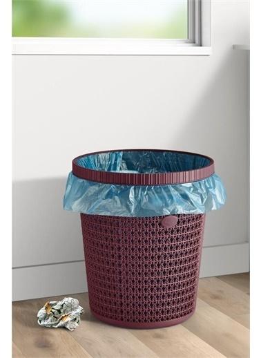 Arma House Örgü Desenli Poşet Hazneli Kapaklı Mürdüm Renkli Çöp Kovası Ve Çöp Poşeti 12 Lt Renkli